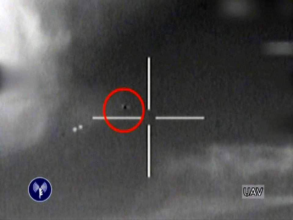 Photo -   This image made from video released by the Israeli Defense Forces shows the downing of a drone that entered Israeli airspace in southern Israel, Saturday, Oct. 6, 2012. Israeli jets scrambled to intercept a drone that crossed into Israeli airspace Saturday from the Mediterranean Sea, bringing it down without incident in the south of the country, a military spokeswoman said.(AP Photo/Israeli Defense Forces via AP video
