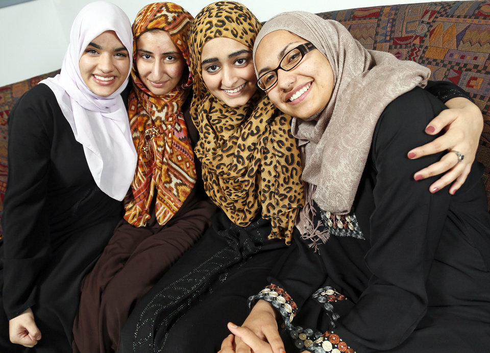 From left, Zoha Qureshi, 17; Areebah Anwar, 18; Isra Cheema, 17; and Jasmine Shafik, 17, are Mercy School�s first graduating class. Photo by Nate Billings, The Oklahoman