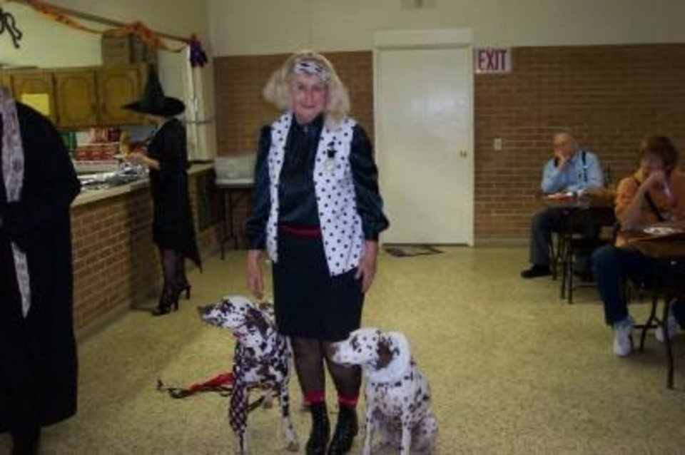 Our Lady of Fatima Costume party with Jane Neely as Spot Barbie 101 and liver Dalmations Dixie and D'Leo<br/><b>Community Photo By:</b> Linda Kringlen<br/><b>Submitted By:</b> jane, Nicoma Park