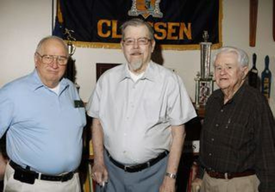Classen High School alumni James Thomas, class of 50, Jim Kyle, class of 48, and John Shannon, class of 44, at the Classen Museum in Oklahoma City Thursday, May 9, 2013.  Photo by Paul B. Southerland, The Oklahoman