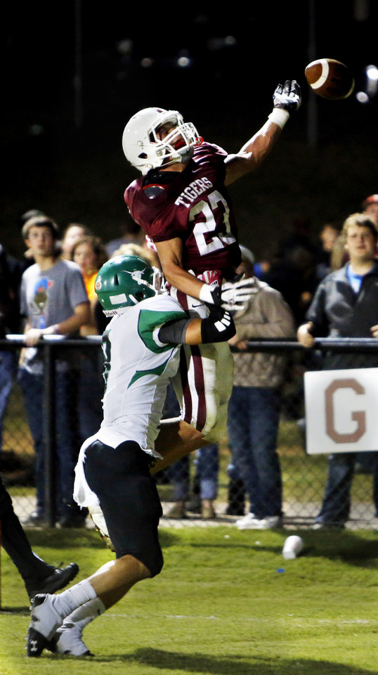 Jones' player Levi Fox is called for interference in the end zone on a pass to Tuttle's Dawson Bassett with seconds left in the first half in high school football on Friday, Oct. 19, 2012 in Tuttle, Okla.  Photo by Steve Sisney, The Oklahoman