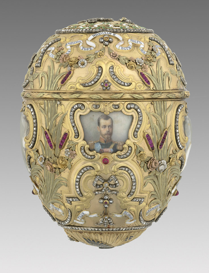 "Photo - This undated image provided by the Virginia Museum of Fine Arts shows a Faberge 1903 Imperial Peter the Great Easter Egg which is part of an exhibit titled ""Faberge Revealed"" at the Virginia Museum of Fine Arts in Richmond, Va.  The exhibit, which ends Oct. 2, includes imperial Easter eggs and other objects from VMFA?s own collection, along with sculptures and other works loaned from three private collections.     (AP Photo/Virginia Museum of Fine Arts) ORG XMIT: NYLS502"