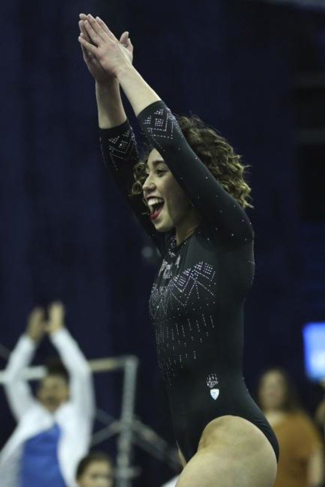 Photo -  UCLA gymnast Katelyn Ohashi has become a viral sensation with her floor routine. On Sunday, she and the Bruins will be in Norman for a dual against Oklahoma. [AP PHOTO]