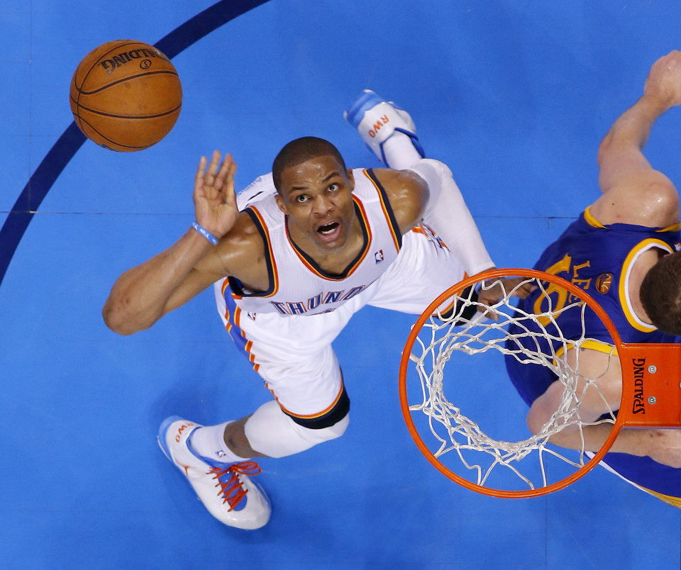 Oklahoma City\'s Russell Westbrook (0) watches his shot behind Golden State\'s David Lee (10) during an NBA basketball game between the Oklahoma City Thunder and the Golden State Warriors at Chesapeake Energy Arena in Oklahoma City, Wednesday, Feb. 6, 2013. Photo by Bryan Terry, The Oklahoman