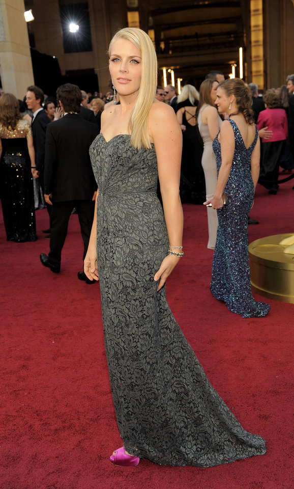 Busy Philipps arrives before the 84th Academy Awards on Sunday, Feb. 26, 2012, in the Hollywood section of Los Angeles. (AP Photo/Chris Pizzello) ORG XMIT: OSC608
