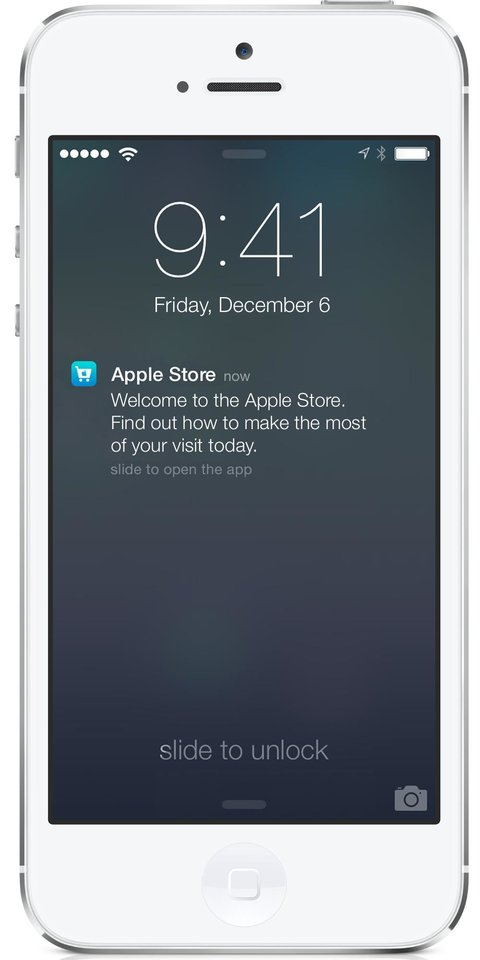 Photo - This undated photo provided by Apple shows the screen on an iPhone using Apple's iBeacon, offering precise location technology. On Friday, Dec. 6, 2013, Apple Inc. will begin using iBeacon, a part of its iOS 7 mobile software, to send shoppers inside its U.S. stores messages about products, events and other information based where they are in the store. (AP Photo/Apple)