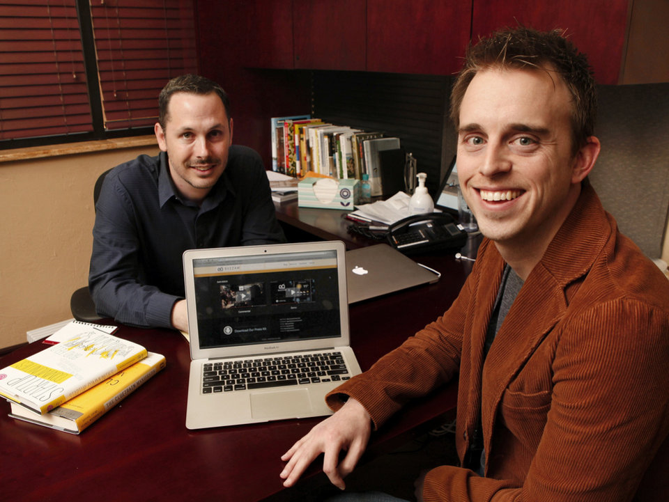 Greg Starling, left, and Josh Wright, Oklahoma City business partners who developed and are currently perfecting Internet radio business called Buzzam.  Photo by Jim Beckel, The Oklahoman