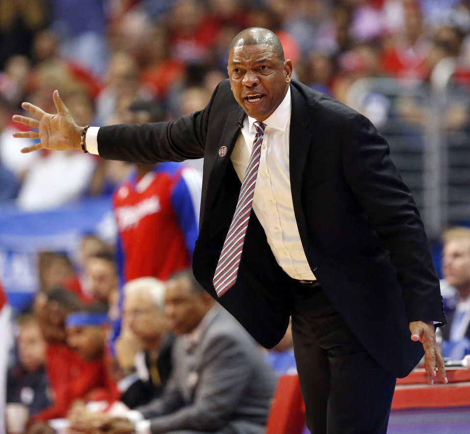 Photo - Los Angeles coach Doc Rivers during Game 4 of the Western Conference semifinals in the NBA playoffs between the Oklahoma City Thunder and the Los Angeles Clippers at the Staples Center in Los Angeles, Sunday, May 11, 2014. Photo by Nate Billings, The Oklahoman