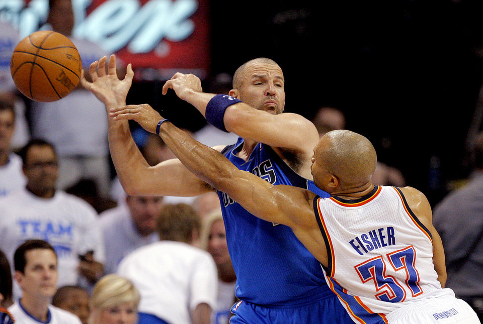 Oklahoma City\'s Derek Fisher (37) defends against Dallas\' Jason Kidd (2) during Game 2 of the first round in the NBA basketball playoffs between the Oklahoma City Thunder and the Dallas Mavericks at Chesapeake Energy Arena in Oklahoma City, Monday, April 30, 2012. Photo by Sarah Phipps, The Oklahoman