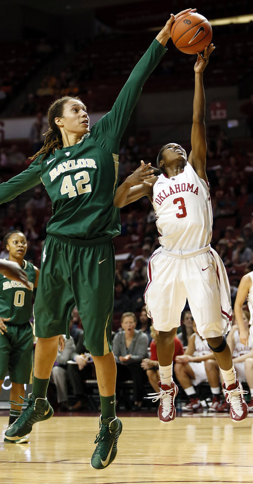 Photo - Baylor's Brittney Griner (42) blocks the shot of Oklahoma's Aaryn Ellenberg (3) during a women's college basketball game between the University of Oklahoma and Baylor at the Lloyd Noble Center in Norman, Okla., Monday, Feb. 25, 2013. Baylor beat OU, 86-64. Photo by Nate Billings, The Oklahoman