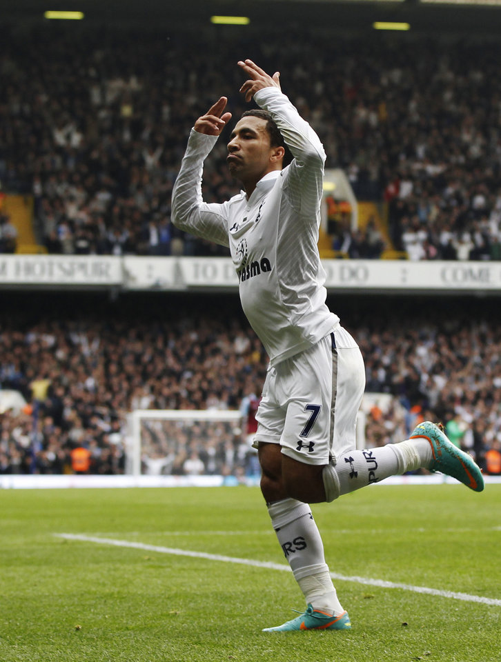 Tottenham Hotspur's Aaron Lennon celebrates after he scored against Aston Villa during a Premier League soccer match at White Hart Lane ground in London, Sunday, Oct. 7, 2012. Tottenham Hotspur won the match 2-0. (AP Photo/Lefteris Pitarakis)