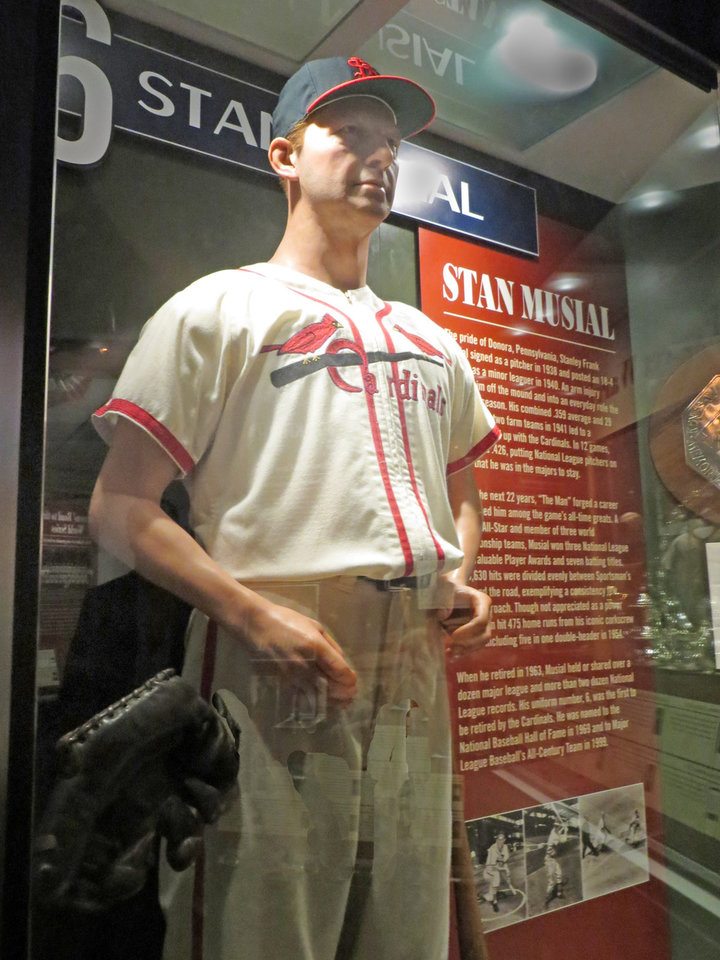 Photo -  Stan Musial, possibly the greatest St. Louis Cardinal of all time, is prominently featured in the Cardinals Hall of Fame and Museum. Photo by Elaine Warner, for The Oklahoman