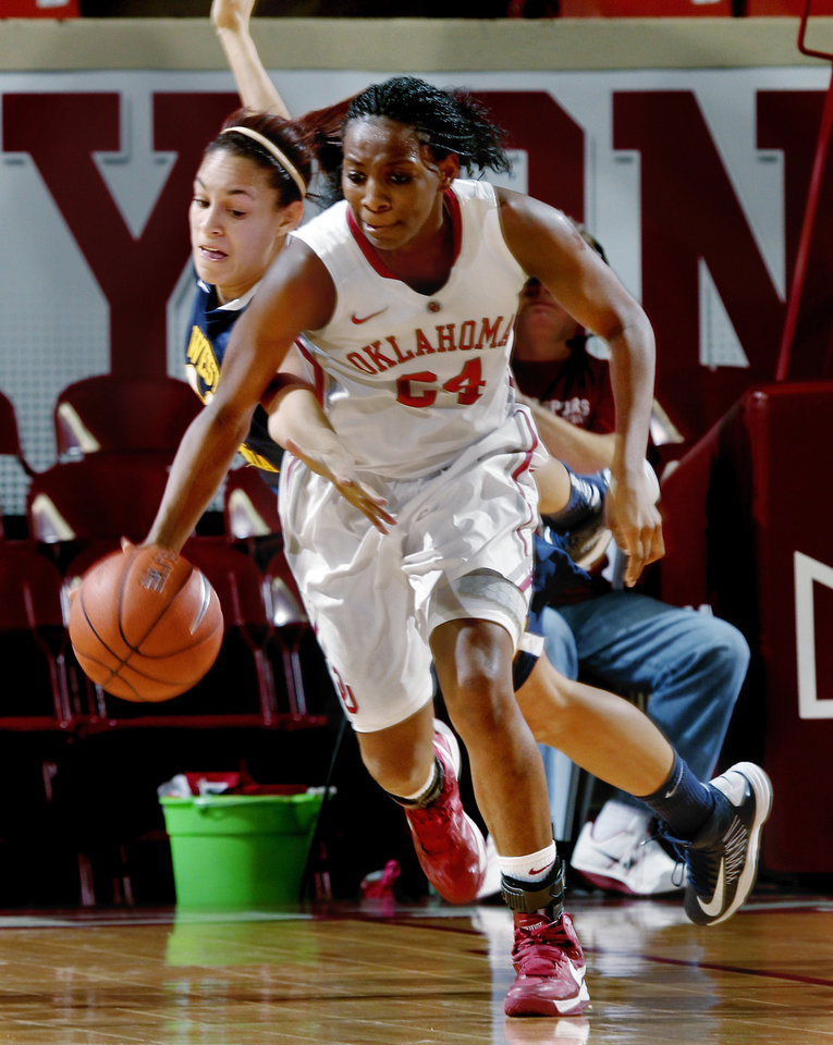 Oklahoma Sooner\'s Sharane Campbell (24) is fouled after a rebound with seconds remaining during the second half as the University of Oklahoma Sooners (OU) defeat the West Virginia Mountaineers 71-68 in NCAA, women\'s college basketball at The Lloyd Noble Center on Wednesday, Jan. 2, 2013 in Norman, Okla. Photo by Steve Sisney, The Oklahoman
