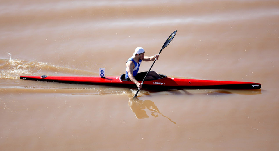 Austin Schwinn competes in the Men\'s single kayak 1000m Final A during races for the USA Canoe/Kayak World Cup Team Trials on the Oklahoma River, Saturday, April 21, 2012. Photo by Sarah Phipps, The Oklahoman.