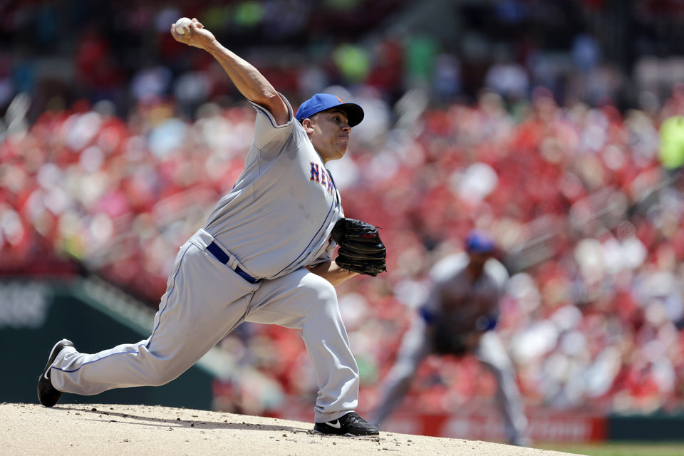 Photo - New York Mets starting pitcher Bartolo Colon throws during the first inning of a baseball game against the St. Louis Cardinals Wednesday, June 18, 2014, in St. Louis. (AP Photo/Jeff Roberson)