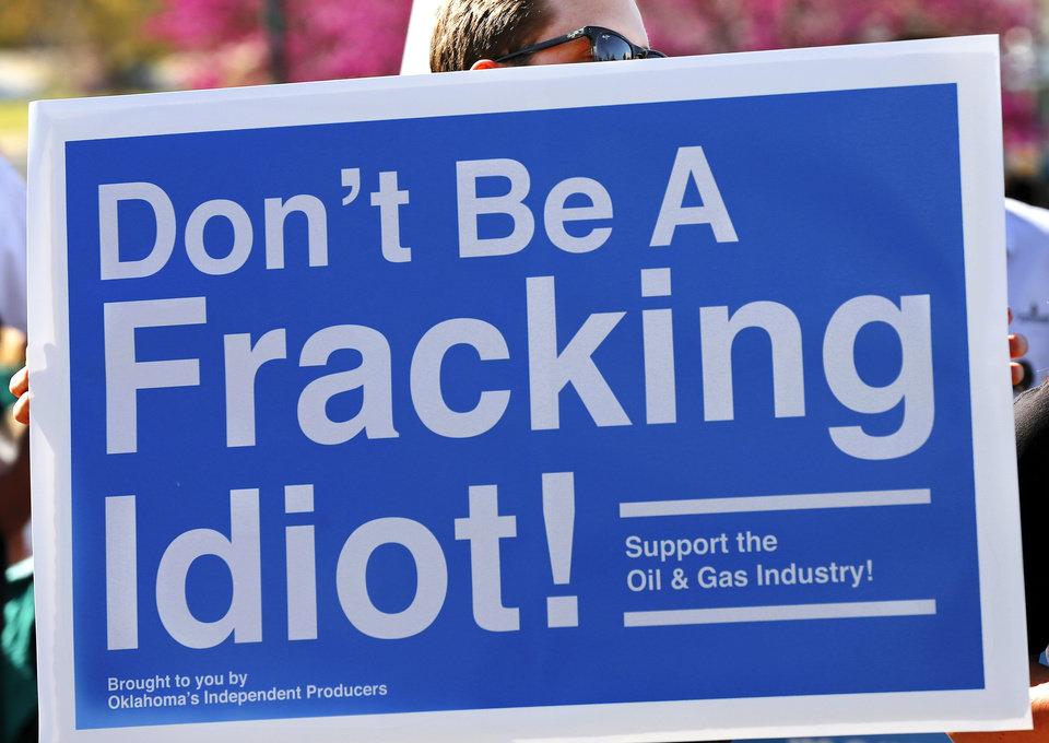 A sign at the Oklahoma Independent Petroleum Association's Rally for the Rigs at the state Capitol on Wednesday. Photo by Jim Beckel, The Oklahoman  <strong>Jim Beckel -   </strong>