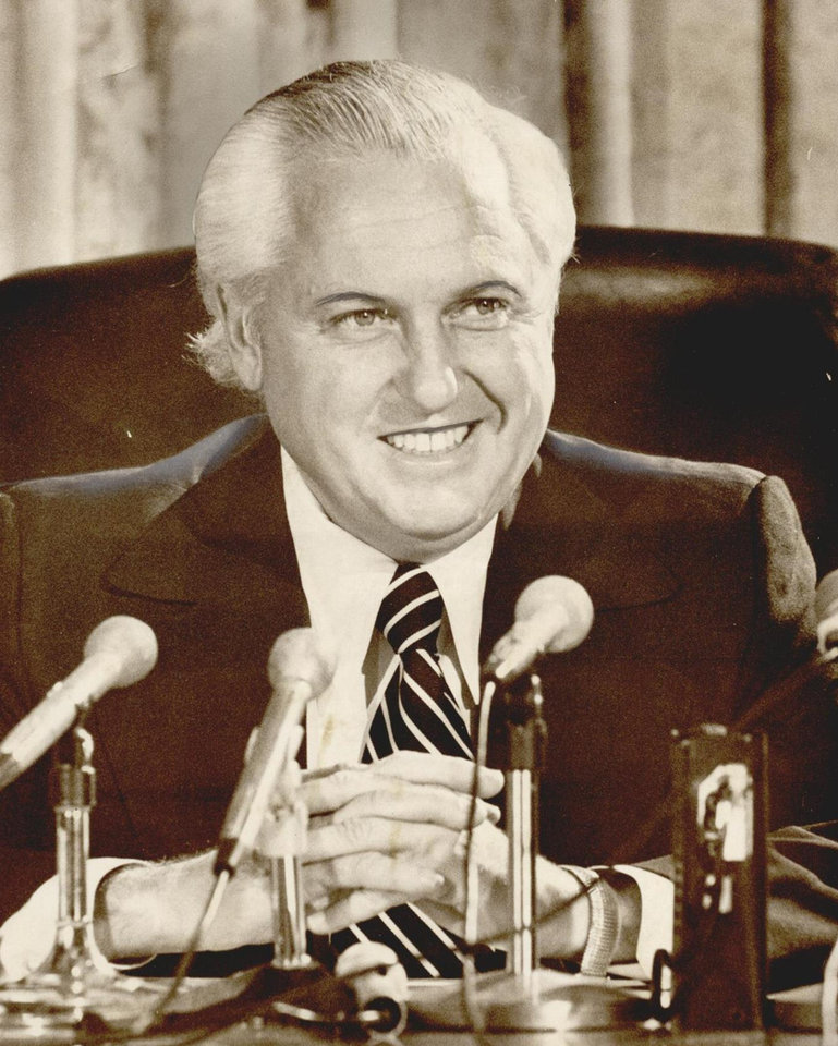 Photo - Gov. David Hall talks of his plans in 1974. [Photo by Bob Albright, The Oklahoman Archives]