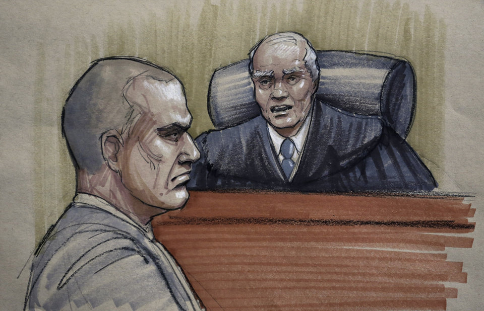 In this courtroom sketch, David Coleman Headley, 52, left, appears before U.S. District Judge Harry Leinenweber at federal court in Chicago, Thursday, Jan. 24, 2013, as Leinenweber imposes a sentence of 35 years in prison for the key role Headley played in a 2008 terrorist attack on Mumbai that has been called India\'s 9/11. (AP Photo/Tom Gianni)