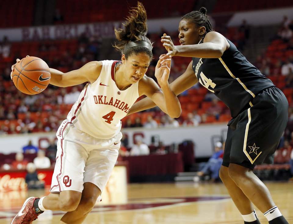 OU's Nicole Griffin (4) drives the ball against Vanderbilt's Tiffany Clarke (34) in the first half during a women's college basketball game between the University of Oklahoma Sooners and the Vanderbilt Commodores at Lloyd Noble Center in Norman, Okla., Sunday, Dec. 16, 2012. Photo by Nate Billings, The Oklahoman
