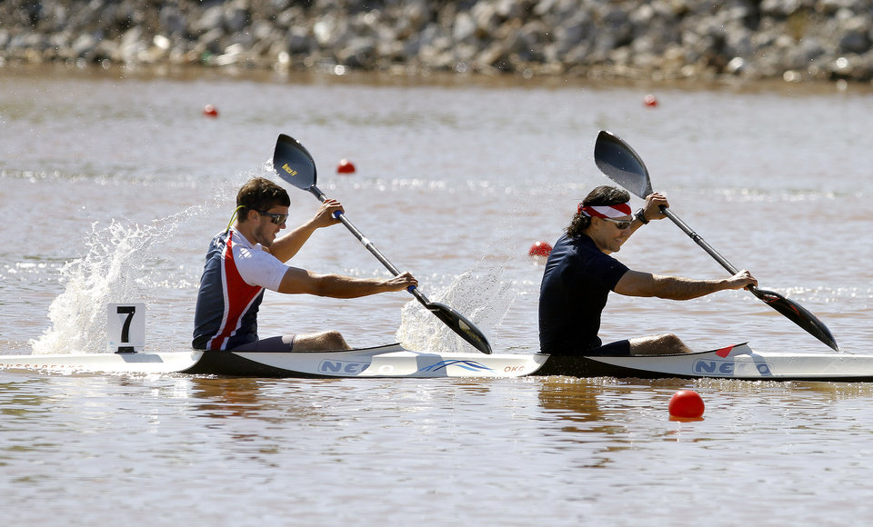Tanner Easterday  and John De Palma compete in the men's double kayak 200m final during races for USA Canoe/Kayak World Cup Team Trials on the Oklahoma River,  Saturday, April 21, 2012. Photo by Sarah Phipps, The Oklahoman.