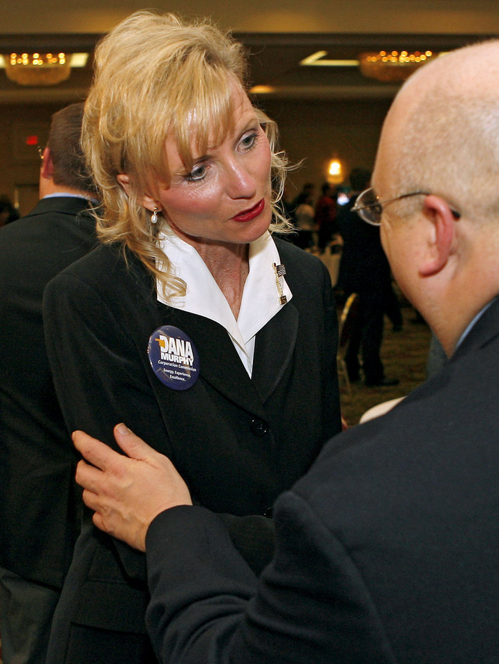 Photo - Dana Murphy talks with supporters during the Republican watch party at the Oklahoma City Marriott on Northwest Expressway in oklahoma City on Tuesday Nov. 4, 2008. By John Clanton, The Oklahoman