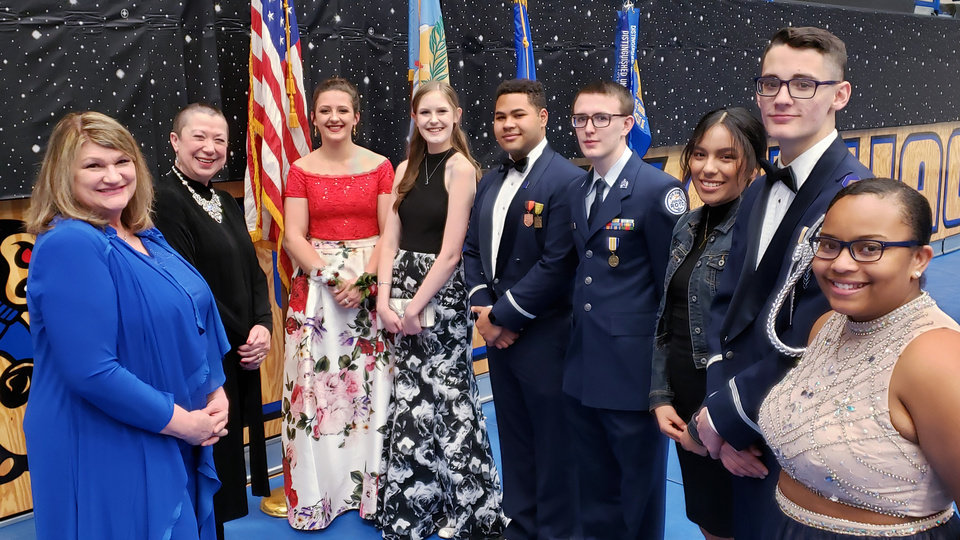 Photo - Pamela Matherly, Janice Modisette, member Choctaw- Nicoma Park School District Board of Education and Cadet Group Commanders: C/Col Kaci Bailey, Choctaw; C/Col Madelynn Ruble, Edmond North; C/Col Isaac Callies, Putnam City; C/Col Jordon King, Southeast; C/Col Daisy Moreno, Crooked Oak, C/ Maj Michael Hester, Carl Albert, and C/2Lt Aaleysha Brown-Ward, Midwest City. PHOTO PROVIDED