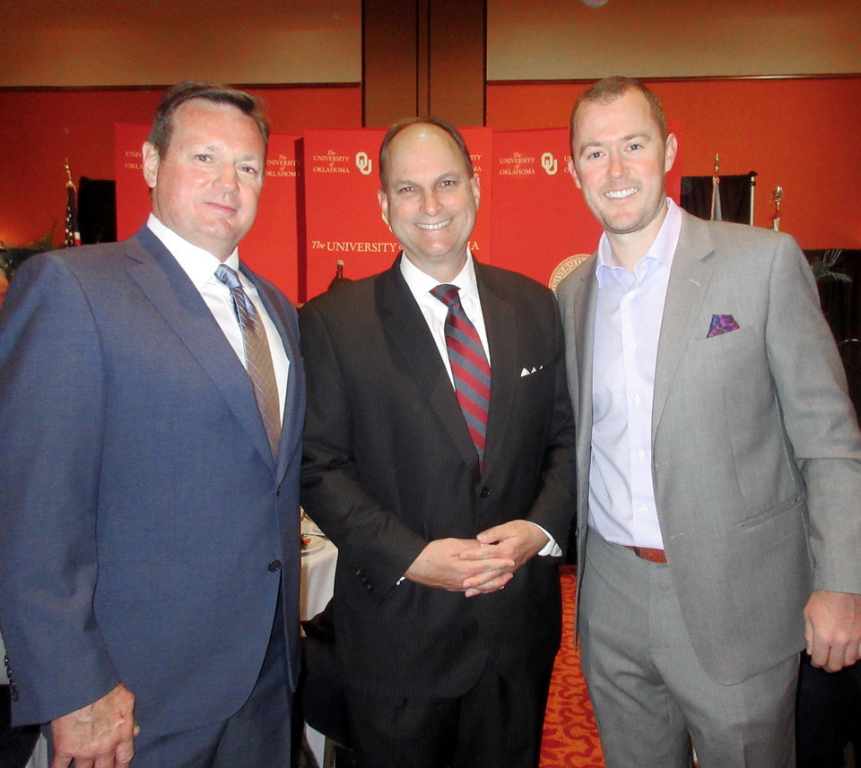 Photo - Bob Stoops, Joe Castiglione, Lincoln Riley. PHOTO BY HELEN FORD WALLACE, THE OKLAHOMAN