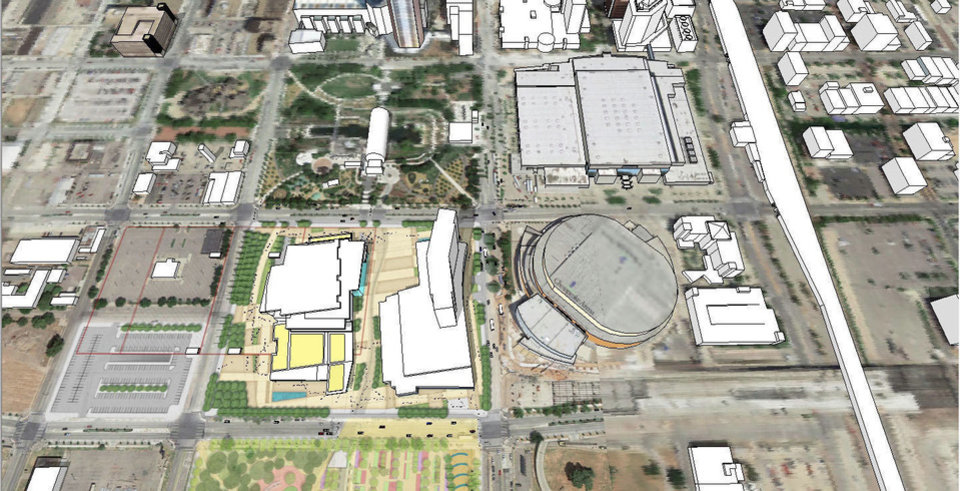Photo - A new conceptual site plan for the $250 million convention center calls for a hotel to be built west of the Chesapeake Energy Arena, and ample green space and a courtyard providing linkages between the Myriad Gardens and a future Core to Shore park. The additional linkages are made possible by extending underground exhibit hall space and loading docks to the block west of Hudson, as shown with the outlines on the left.  Drawing provided by Populous/GSB