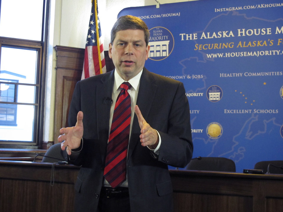 Photo - U.S. Sen. Mark Begich, D-Alaska, addresses reporters during a news conference after he spoke to a joint session of the Alaska Legislature on Monday, March 3, 2014, in Juneau, Alaska. (AP Photo/Becky Bohrer)