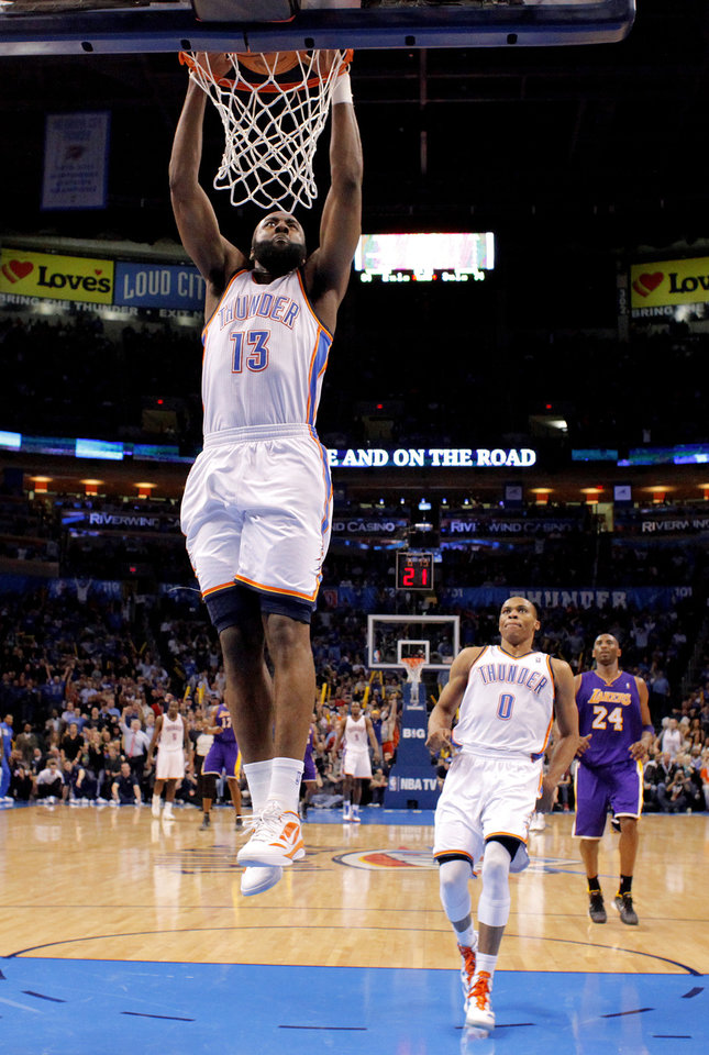 Photo - Oklahoma City's James Harden (13) dunks the ball as Russell Westbrook (0) and Los Angeles' Kobe Bryant (24) watch during an NBA basketball game between the Oklahoma City Thunder and the Los Angeles Lakers at Chesapeake Energy Arena in Oklahoma City, Thursday, Feb. 23, 2012. Oklahoma City won 100-85.  Photo by Bryan Terry, The Oklahoman