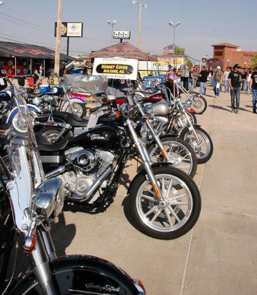 Photo - Motorcycles are lined up before the Thunder Run in Oklahoma City. The run benefits multiple sclerosis patients in Oklahoma. PHOTO PROVIDED BY OMRF  Provided