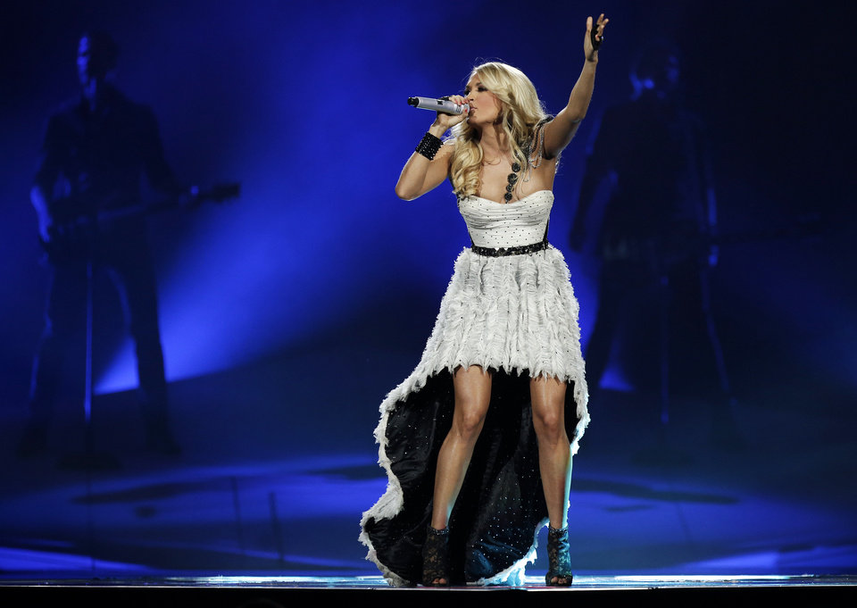 Carrie Underwood performs at the Chesapeake Energy Arena in Oklahoma City, Thursday, Oct. 25, 2012. Photo by Garett Fisbeck, The Oklahoman