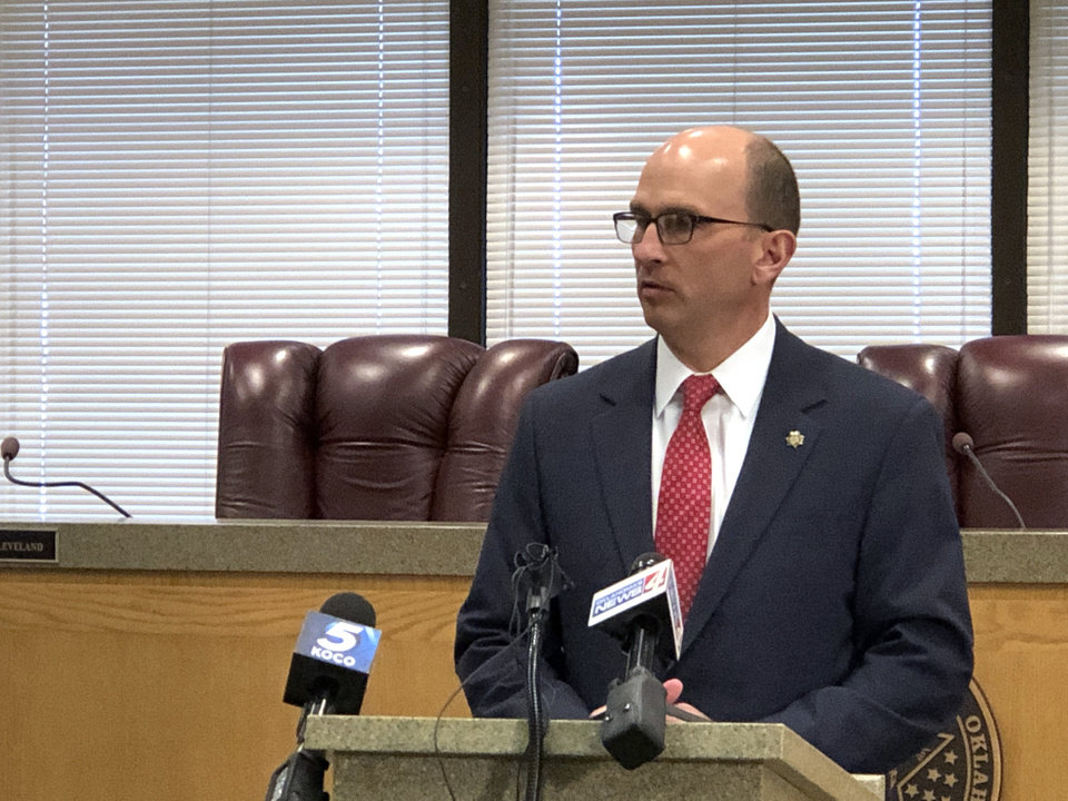 Photo - Greg Mashburn, Cleveland County District Attorney, speaks in Norman, Friday, February 7, 2020. [David Morris/The Oklahoman]