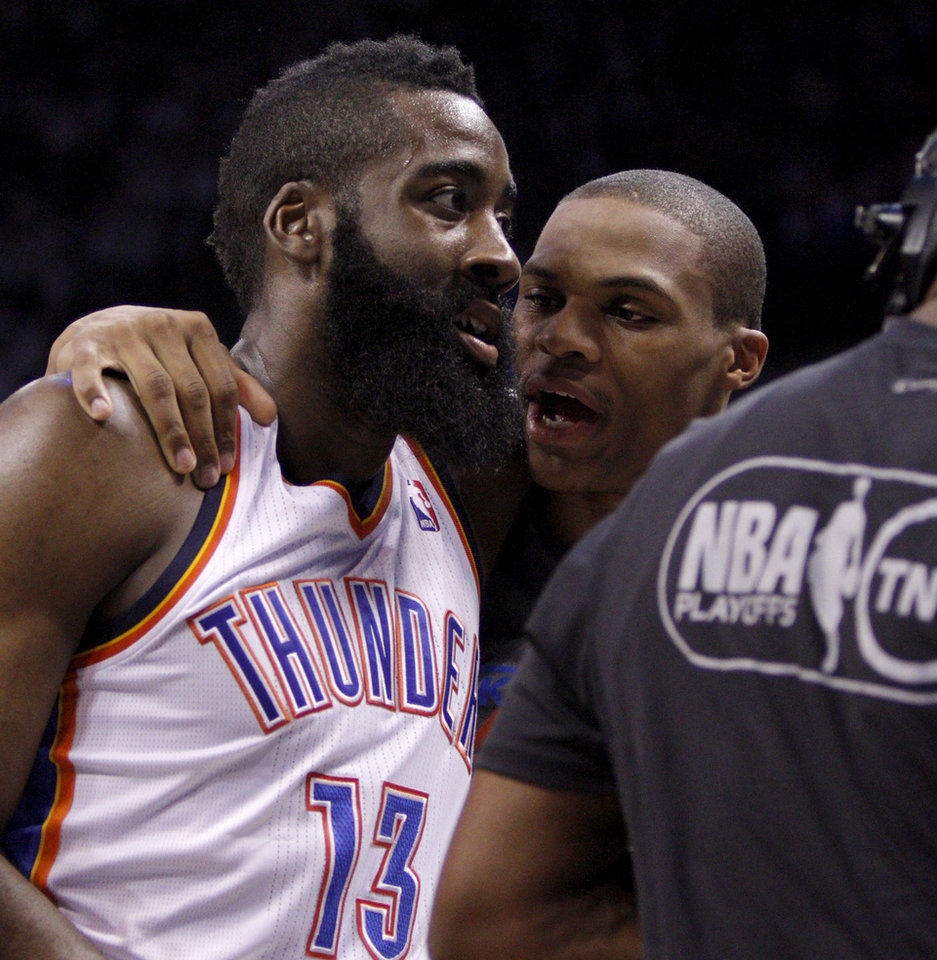 Oklahoma City's James Harden (13) and Russell Westbrook (0) talk during Game 4 of the Western Conference Finals between the Oklahoma City Thunder and the San Antonio Spurs in the NBA playoffs at the Chesapeake Energy Arena in Oklahoma City, Saturday, June 2, 2012. Oklahoma CIty won 109-103. Photo by Bryan Terry, The Oklahoman
