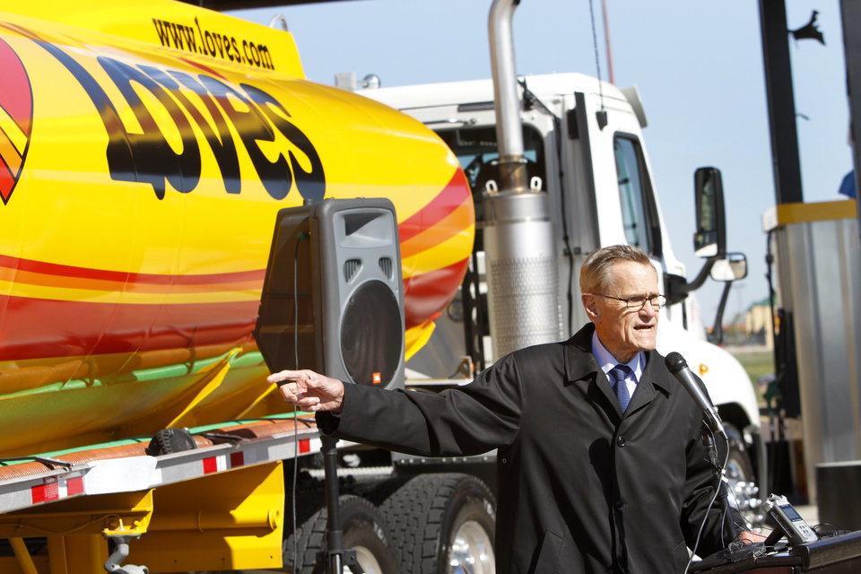 "Tom Love, founder and CEO of Love's Travel Stops speaks during the opening of Love's first ""fast fill"" CNG facility for heavy-duty trucks at I-40 and Morgan Road in Oklahoma City, Monday  October 8, 2012. Photo By Steve Gooch, The Oklahoman"