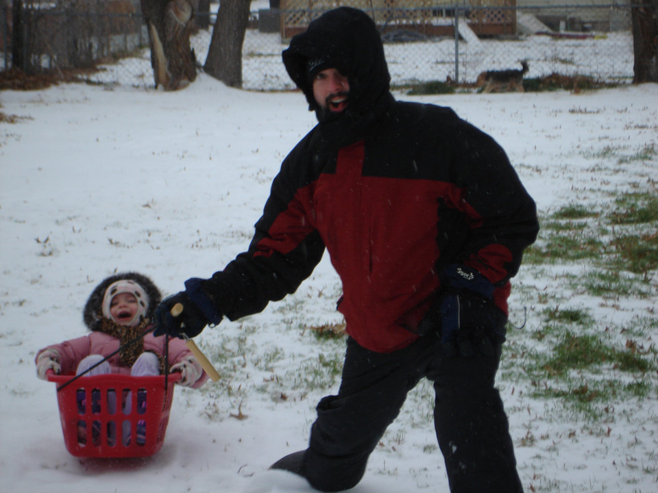 We didn't have a sled so we had to improvise!!  Jeremy Miller and Molly Dorris<br/><b>Community Photo By:</b> Teresa Miller<br/><b>Submitted By:</b> Teresa, Bethany