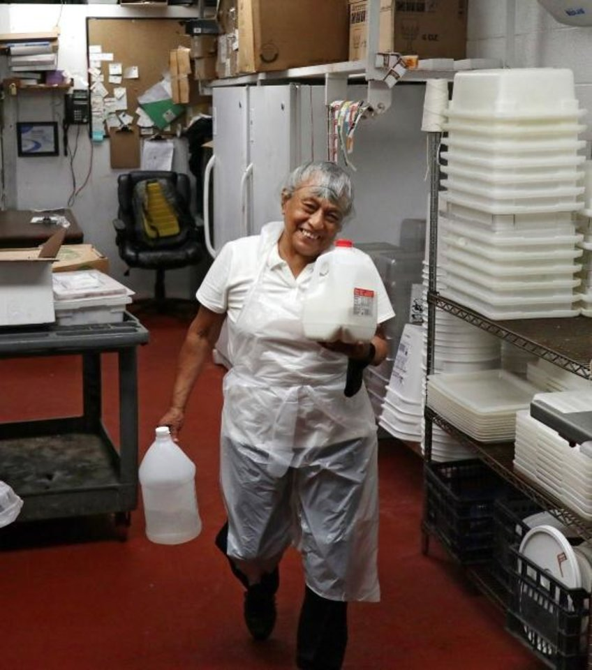 Photo -  Rosita Parker, who started working for Dick Stubbs 50 years ago, has been keeper of the famous Cattlemen's salad dressing since 2003. She retires Thursday. [Doug Hoke/The Oklahoman]