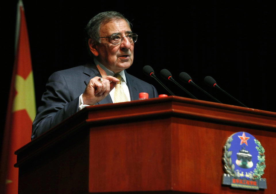 Photo -   U.S. Secretary of Defense Leon Panetta addresses cadets at the Engineering Academy of PLA Armored Forces, in Beijing, Wednesday, Sept. 19, 2012. (AP Photo/Larry Downing, Pool)