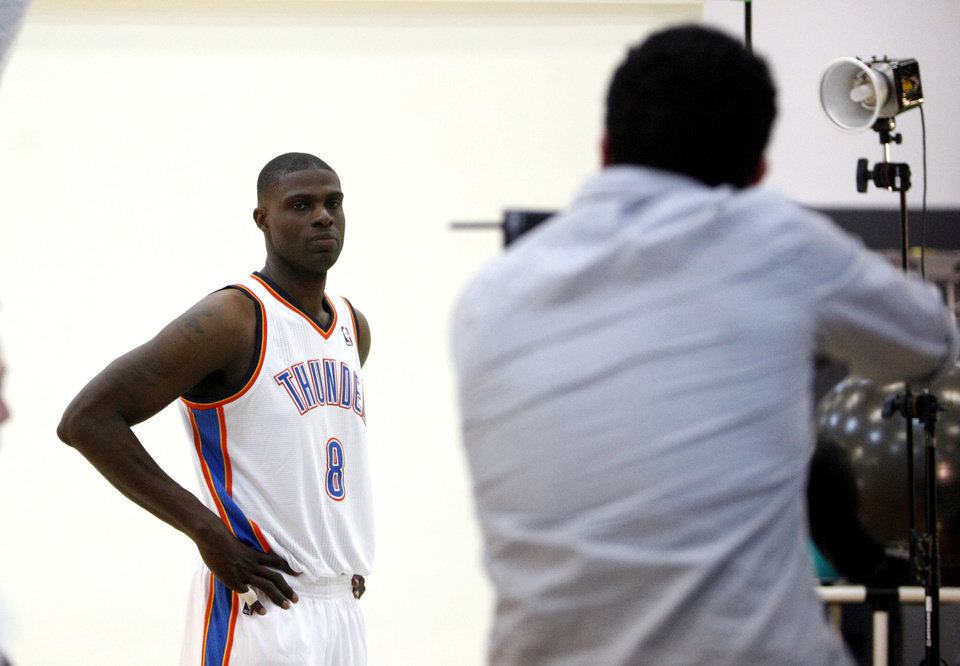 Oklahoma City's Nazr Mohammed has his pictured taken at the the Thunder practice facility, Saturday, Feb, 26, 2011, in Oklahoma City.Photo by Sarah Phipps, The Oklahoman
