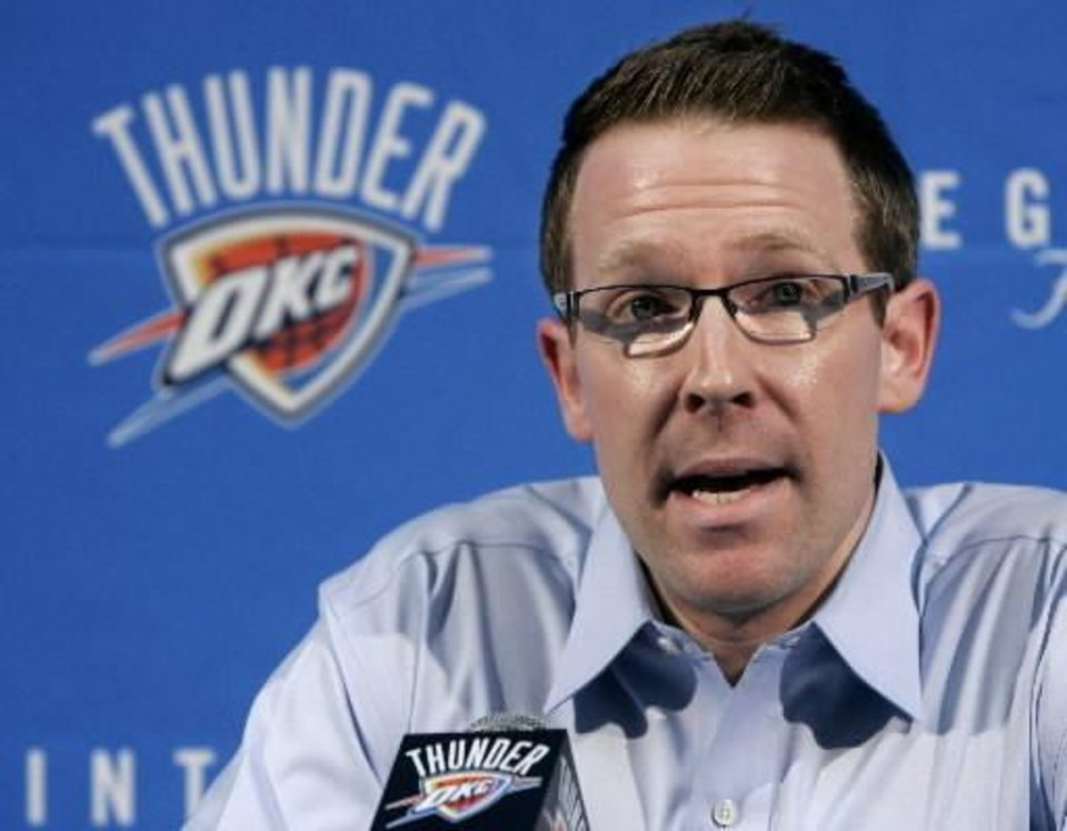 Sam Presti is seen in this May 3 AP photo.