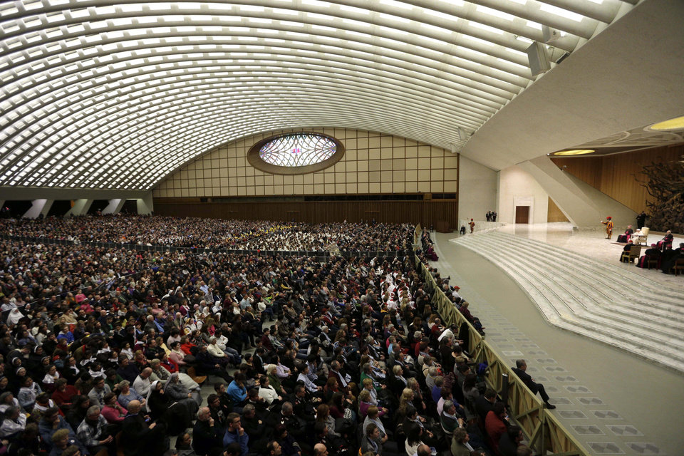 Photo - Pope Benedict XVI leads his weekly general audience at the Paul VI Hall at the Vatican, Wednesday Feb. 13, 2013. Looking tired but serene, Pope Benedict XVI told thousands of faithful Wednesday that he was stepping down for