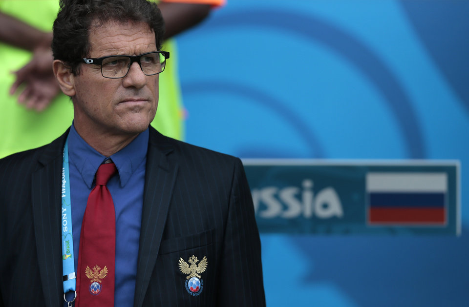Photo - Russia's head coach Fabio Capello stands on the sideline before  the group H World Cup soccer match between Belgium and Russia at the Maracana stadium in Rio de Janeiro, Brazil, Sunday, June 22, 2014. (AP Photo/Ivan Sekretarev)