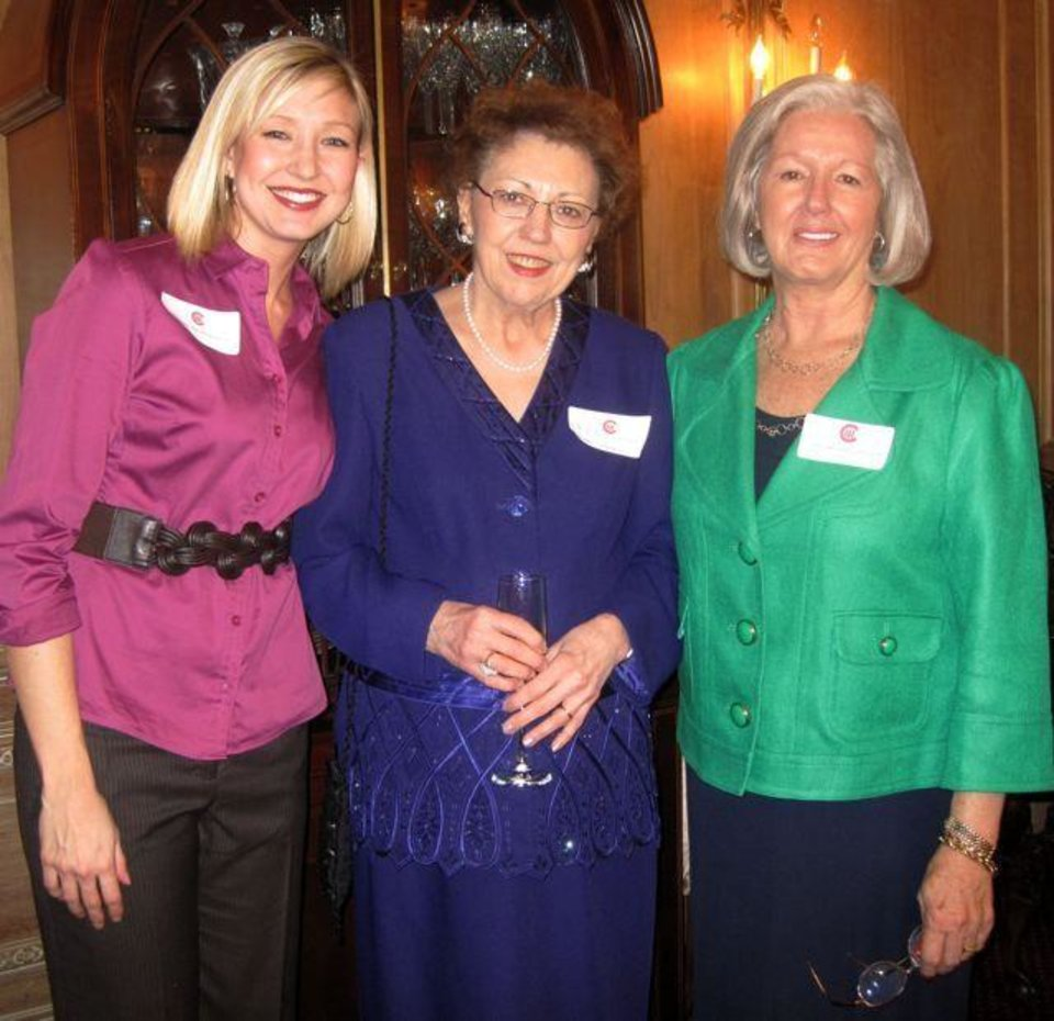 Photo - AFTERNOON TEA...Margo Ward, M.J. Van Deventer and Sandy Shapard were  at the party. (Photo by Helen Ford Wallace).