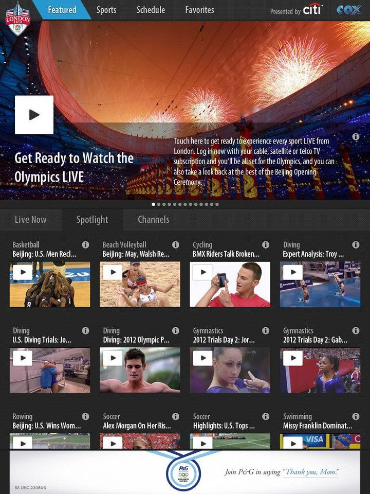 The NBC Li ve Extra mobile app, depicted here in a screen shot, opens to video links to Olympic events going on the day you open it. <strong></strong>