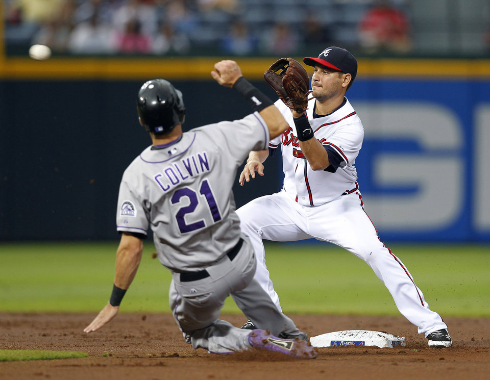 Photo -   Colorado Rockies' Tyler Colvin (21) slides before being tagged out at second base by Atlanta Braves shortstop Paul Janish on an attempted steal during the second inning of a baseball game Tuesday, Sept. 4, 2012, in Atlanta. (AP Photo/John Bazemore)