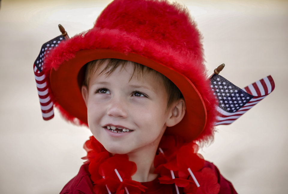 John Alberts, 6, of Yukon, is dressed up for show to participate in the children\'s parade during the Yukon Freedom Fest at the Yukon City Park on Thursday , July 4, 2013, in Yukon, Okla. Photo by Chris Landsberger, The Oklahoman