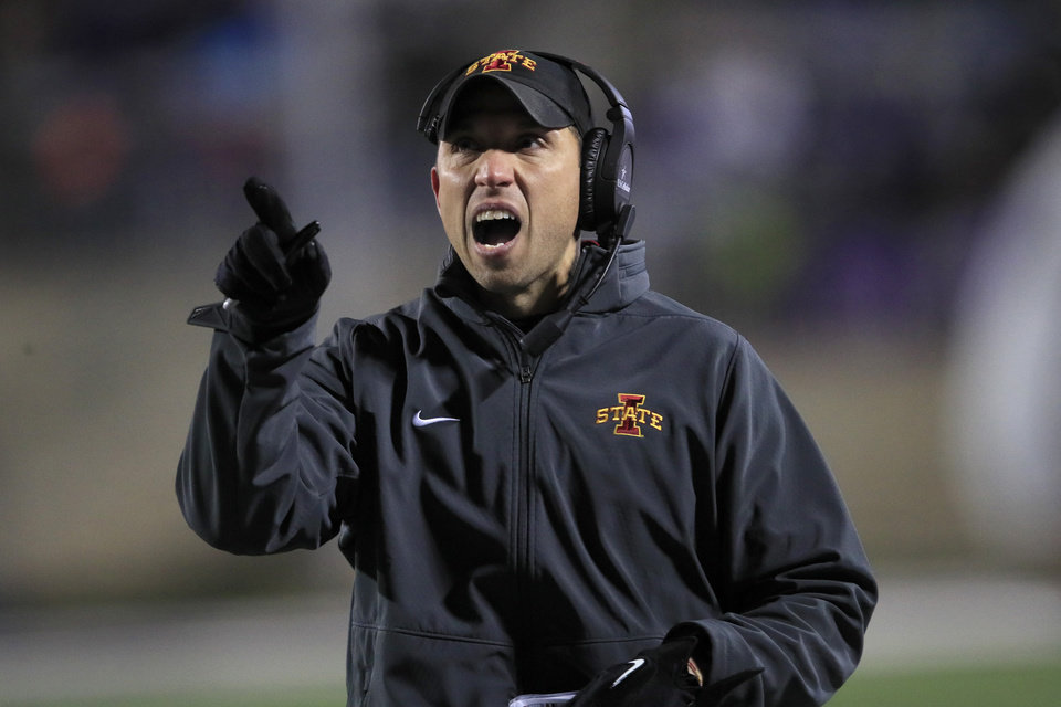 Photo - Iowa State head coach Matt Campbell calls a timeout during the first half of an NCAA college football game against Kansas State in Manhattan, Kan., Saturday, Nov. 30, 2019. (AP Photo/Orlin Wagner)