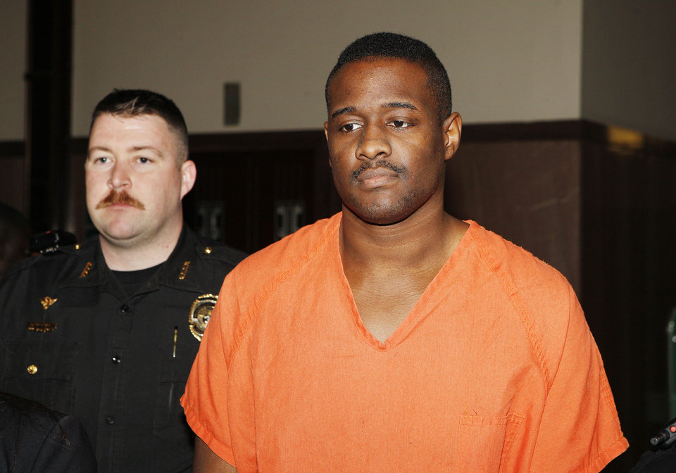 Fabion Demargio Brown is led Wednesday to the courtroom for his preliminary hearing at The Oklahoma County Courthouse in Oklahoma City. Photo by Paul B. Southerland, The Oklahoman <strong>PAUL B. SOUTHERLAND</strong>