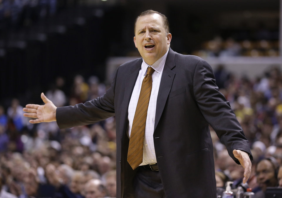 Photo - Chicago Bulls coach Tom Thibodeau questions the lack of a call against the Indiana Pacers in the second half of an NBA basketball game in Indianapolis, Monday, Feb. 4, 2013. The Pacers defeated the Bulls 111-101. (AP Photo/Michael Conroy)