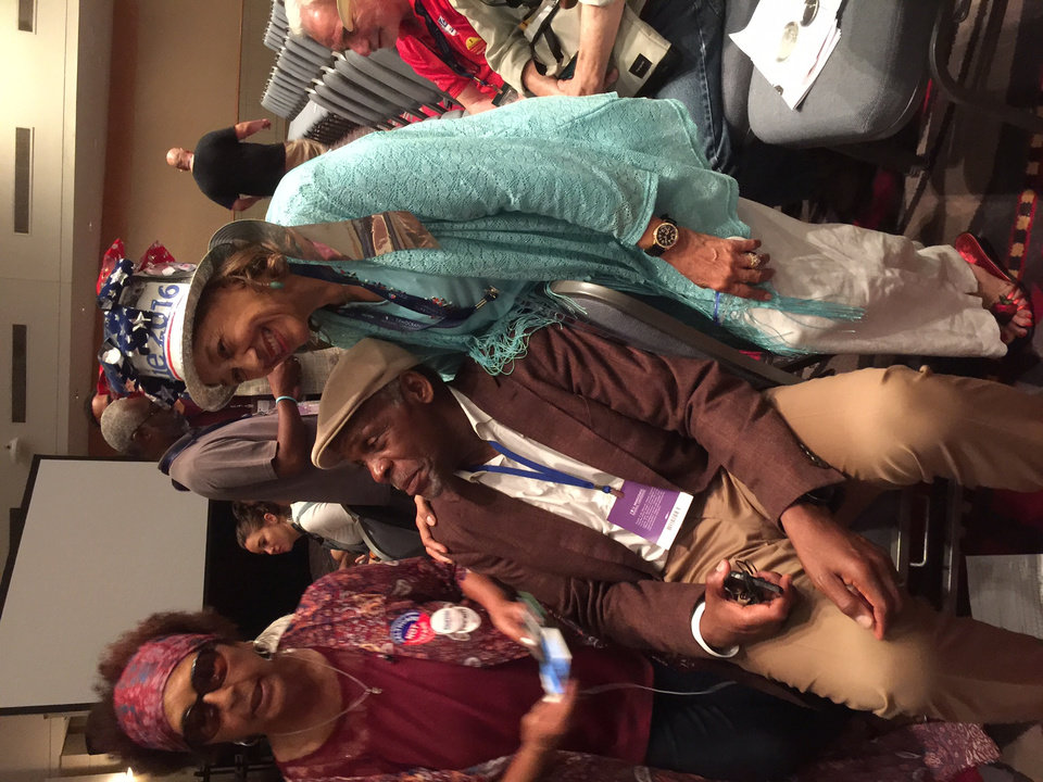 Photo - Danny Glover with Sanders delegates. -- Photo via Bill Dower, an Oklahoma delegate attending the Democratic National Convention in Philadelphia.